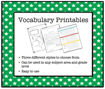 Vocabulary Worksheets- 3 printable designs