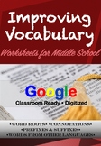 Vocabulary Worksheets - Word Roots, Suffixes + Prefixes, Connotation