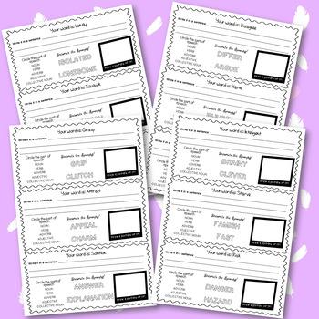 Vocabulary Worksheets Bundle - All 8 Levels, 64 worksheets, 192 words!