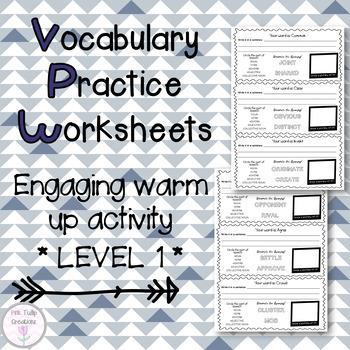 Vocabulary Worksheets - Level 1, Grades 1-2