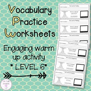Vocabulary Worksheets - Level 6, Grades 6-7