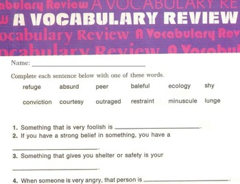 Vocabulary Worksheets: Synonyms, Antonyms + Use of Context Reading Skills