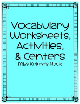 Vocabulary Worksheets and Games
