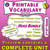 Vocabulary Worksheets and Task Cards with Quizzes and Home