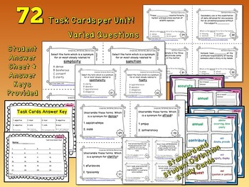 Vocabulary Worksheets and Task Cards with Quizzes and Homework Handouts