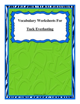 Vocabulary Worksheets for Tuck Everlasting