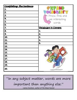 Vocabulary Workshop Answer Sheet