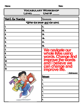 Vocabulary Workshop Answer Sheet for Color Levels