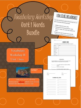 Sadlier Vocabulary Workshop Level B Unit 1 Bundle
