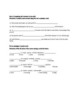 Vocabulary Workshop Level B Unit 1 Quiz