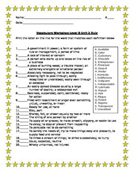 Vocabulary Workshop Level B Unit 2