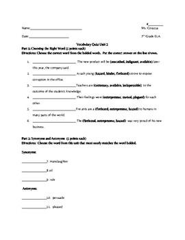 Vocabulary Workshop Level B Unit 2 Quiz