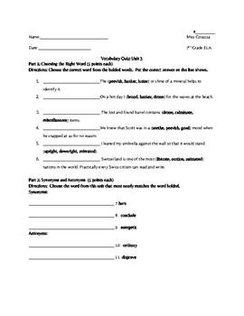 Vocabulary Workshop Level B Unit 3 Quiz