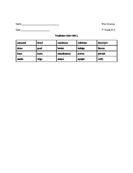 Vocabulary Workshop Level B Unit 3 Quiz