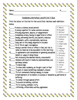 Vocabulary Workshop Level B Unit 4
