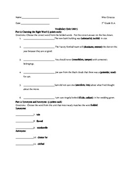 Vocabulary Workshop Level B Unit 5 Quiz