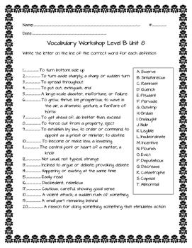 Vocabulary Workshop Level B Unit 8