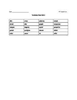 Vocabulary Workshop Level C Unit 3 Quiz