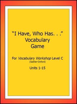 "Vocabulary Workshop, Level C,Units 1-15,""I Have/WhoHas"" Game,Sadlier-Oxford"