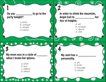 Vocabulary Workshop Task Cards (Level Green Unit 10)