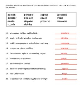 Vocabulary Workshop Quiz 15
