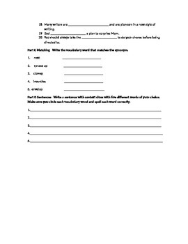 Vocabulary Workshop Test Level A Unit 10