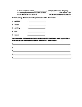 Vocabulary Workshop Test Level A Unit 11