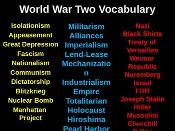 Vocabulary World War Two / WWII