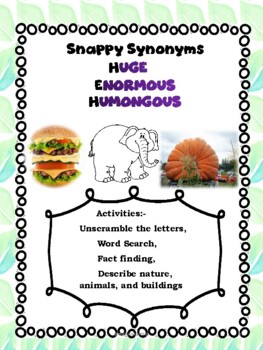 Synonyms- Huge, Enormous, Humongous! Shades of Meaning! Fun Facts!-FREE!