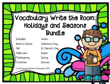 Vocabulary Write the Room: Holidays and Seasons Bundle