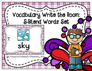 Vocabulary Write the Room: S-Blend Words Set