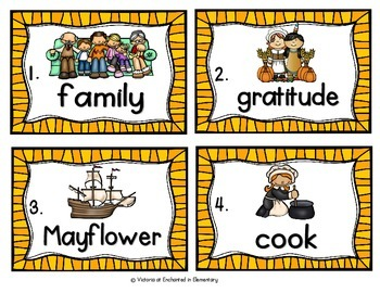 Vocabulary Write the Room: Thanksgiving Set