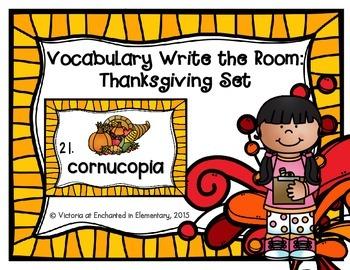 Vocabulary Write the Room: Thanksgiving Set