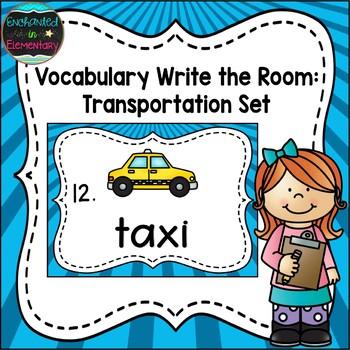 Vocabulary Write the Room: Transportation Set