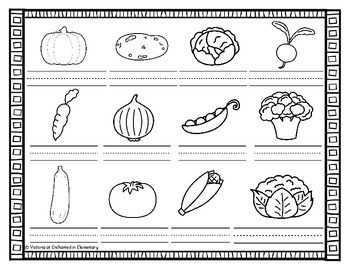 Vocabulary Write the Room: Vegetables Set