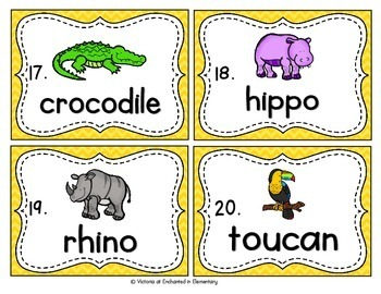 Vocabulary Write the Room: Zoo Animals Set