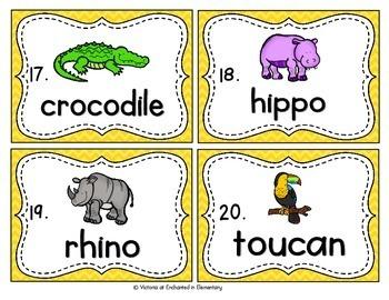 Vocabulary Write the Room: Zoo Animals Set