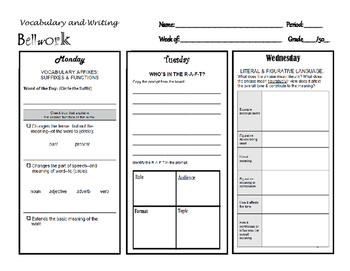 Vocabulary & Writing Bellwork