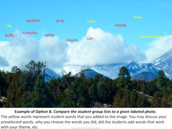 Reading Strategy: Vocabulary, Writing, Content Area : Image Words - Clouds