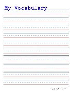 Vocabulary Writing Paper