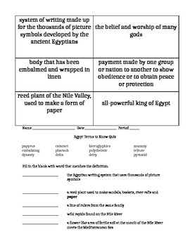 Vocabulary activity and quiz for ancient Egypt