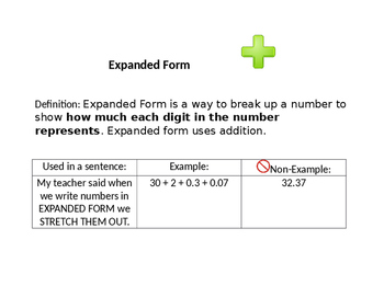 Vocabulary / anchor chart for expanded form and expanded notation