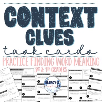 Context Clues Cards for 3rd and 4th grade Task Card Vocabulary Activity