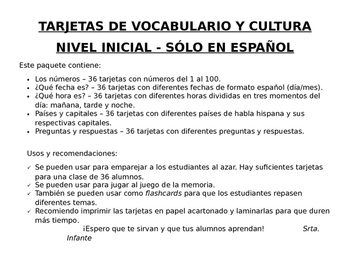 Vocabulary and Culture cards