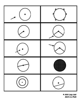 Vocabulary and Definitions  for Circles: Flash Card Matching Game