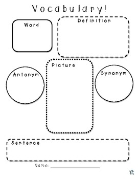 Vocabulary And Dictionary Graphic Organizer Pack By