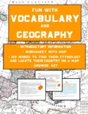 Vocabulary Activities and Geography: Etymology Word Map