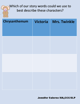 """Vocabulary and Language Companion for """"Chrysanthemum"""" by Kevin Henkes"""