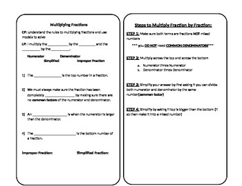 Vocabulary and Notes for Multiplying Fractions