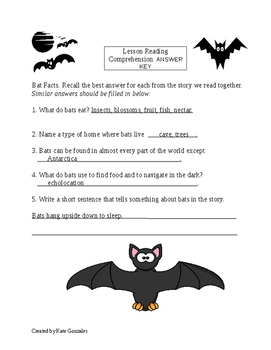 Vocabulary and Reading Comprehension Worksheets Fly Guy Presents:Bats
